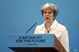 British Prime Minister Theresa May, speaks during the Conservative Party's Spring Forum in central London, March 17, 2018.