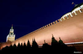Russia - A general view shows the Spasskaya Tower and the Kremlin wall in central Moscow, May 5, 2016.