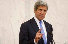 U.S. Secretary of State John Kerry speaks, during a news conference with Swedish Prime Minister Fredrik Reinfeldt, not pictured, in Stockholm, Sweden, May 14, 2013.