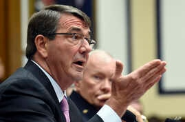 Defense Secretary Ash Carter, left, testifies before the House Armed Services Committee on Capitol Hill in Washington, June 17, 2015.