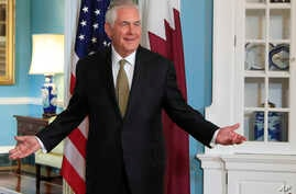 Secretary of State Rex Tillerson gestures as he responds to a reporter's question during a meeting with Qatar's Foreign Minister Sheikh Mohammed bin Abdulrahman Al Thani at the State Department in Washington, July 26, 2017. Tillerson surprised report