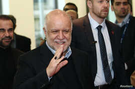Iranian Oil Minister Bijan Zanganeh wave to journalists as he arrives for a meeting of OPEC oil ministers at OPEC's headquarters in Vienna, Austria, Dec. 4, 2013.