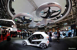 """The """"Pop.Up"""" concept by Audi, Airbus and Italdsign is pictured during the 88th Geneva International Motor Show in Geneva, Switzerland, March 6, 2018."""