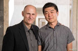 Juan Carlos Izpisua Belmonte, professor at Salk Institute's Gene Expression Laboratory and Jun Wu, Salk staff scientist are pictured in this handout photo obtained by Reuters, Aug. 2, 2017.