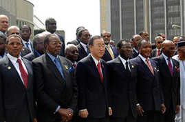 UN Secretary General, Ban Ki Moon with African Union heads of state and government at the AU summit in Ethiopia's capital, Addis Ababa. The Summit ends Monday.