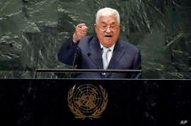 Palestinian President Mahmoud Abbas addresses the 73rd session of the United Nations General Assembly, at U.N. headquarters, Sept. 27, 2018.