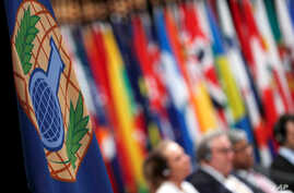The logo of the Organisation for the Prohibition of Chemical Weapons (OPCW) is seen during a special session in the Hague, Netherlands, June 26, 2018.