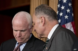 Sen. John McCain, R-Ariz., left, and Sen. Charles Schumer, D-N.Y., right, confer as they and other leading senators announce that they have reached agreement on the principles of sweeping legislation to rewrite the nation's immigration laws, during a