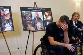 Jason McMillan, 36, of Riverside, a Riverside County Sheriff's deputy who was shot and paralyzed in the Oct, 1, 2017, Las Vegas shooting, reacts as he talks about that evening and is upset MGM's decision, during a personal account brought together by