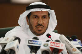 FILE - Saudi Health Minister Abdullah al-Rabia speaks during a news conference in Riyadh, April 20, 2014.