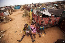 Photo released by the United Nations African Union Mission in Darfur (UNAMID) shows women and their children outside their tents at the Zam Zam refugee camp for internally displaced people (IDP) in North Darfur, Sudan, June 11, 2014.