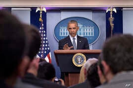 President Barack Obama speaks during a news conference in the Brady press briefing room at the White House in Washington, Nov. 14, 2016.