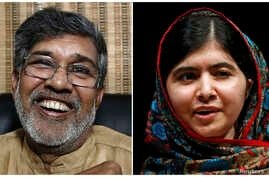 Combination photo shows the two winners of the 2014 Nobel Peace Prize Indian children's right activist Kailash Satyarthi (L) laughing at his office in New Delhi and Pakistani schoolgirl Malala Yousafzai speaking at Birmingham library in Birmingham, c