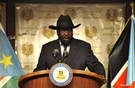 FILE - South Sudan's President Salva Kiir addresses a news conference at the Presidential palace in Juba.