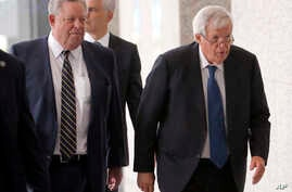 Former U.S. House Speaker Dennis Hastert, right, departs the federal courthouse in Chicago with attorney Thomas Green after his arraignment on charges that he broke federal banking laws and lied about the money when questioned by the FBI, June 9, 201