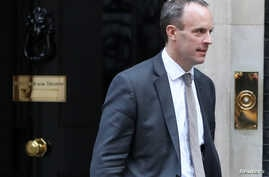 Britain's Secretary of State for Exiting the European Union Dominic Raab leaves Downing Steet, London, Britain, Oct. 9, 2018.