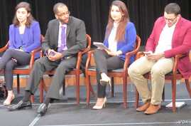 Panelists at a VOA-sponsored discussion explore the social challenges facing U.S. Muslim millennials. From left: Oya Rose Aktas, Mohamed Hussein, Morsal Mohomad and Othman Altalib.