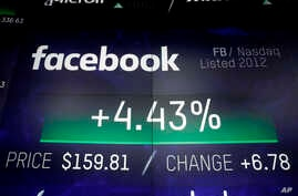 The logo for Facebook appears on screens at the Nasdaq MarketSite, in New York's Times Square, March 29, 2018.