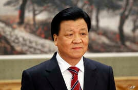 FILE - Liu Yunshan, a leading member of the Chinese Communist Party's Politburo Standing Committee, is seen at Beijing's Great Hall of the People, in a Nov. 15, 2012, photo.