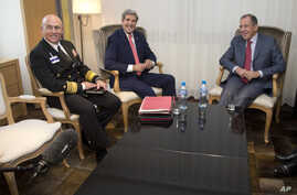 FILE - From left, Vice Admiral Kurt Tidd, U.S. Secretary of State John Kerry and Russia's Foreign Minister Sergei Lavrov  sit for a photo opportunity, Nov. 23, 2013, in Geneva, Switzerland, during the Iran nuclear talks. Tidd said Tuesday that the f