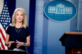 Counselor to the President Kellyanne Conway speaks on television in the Briefing Room at the White House in Washington, May 14, 2018.