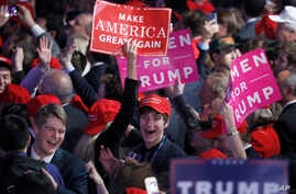 Supporters cheer as they wait for President-elect Donald Trump to give his acceptance speech during his election night rally,Nov. 9, 2016, in New York.