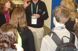George Washington University students meet with a USA Today journalist in the main Press Center at the Winter Olympic Games in Vancouver, 26 Feb. 2010