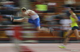 FILE - Athletes compete during the Russian Indoor Championships 2016 in Moscow, Russia.