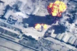 In this image made from undated video provided by Jordanian military via Jordan TV, explosions go off as the military carried out airstrikes at an undisclosed location in Syria. The military carried out airstrikes on Islamic State weapons depots and