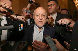 FILE - Iran's oil minister, Bijan Zangeneh, speaks to journalists at a hotel in Vienna, Austria, June 19, 2018.