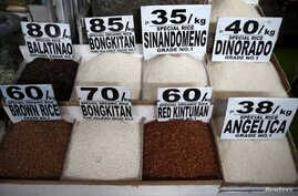 Different rice varieties are pictured at a food stall in the mountain resort of Baguio city in northern Philippines, April 17, 2016.