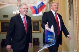 """Small Russian flags bearing the word """"Trump"""" are thrown by a protester toward President Donald Trump, as he walks with Senate Majority Leader Mitch McConnell, R-Ky., on Capitol Hill to have lunch with Senate Republicans."""