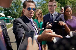 FILE - White House communications director Anthony Scaramucci speaks to members of the media at the White House in Washington, July 25, 2017.