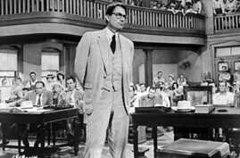 "A 2008 file photo of Gregory Peck as attorney Atticus Finch, a small-town Southern lawyer who defends a black man accused of rape, in a scene from the 1962 movie ""To Kill a Mockingbird"""
