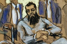 Sayfullo Saipov, the suspect in the New York truck attack, is seen in this courtroom sketch appearing in Manhattan federal courtroom in a wheelchair in New York, Nov. 1, 2017.