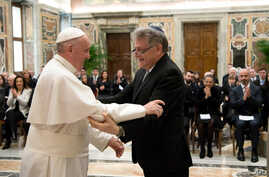 Pope Francis greets Argentine Rabbi Abraham Skorka during a private audience at the Vatican, Feb. 23, 2017.