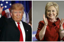 Republican presidential candidate Donald Trump, left, won South Carolina's Republican primary, while Democratic presidential candidate Hillary Clinton won Nevada's Democratic caucuses, Feb. 20, 2016.