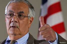 Rep. Barney Frank (D-MA) gestures while speaking at a news conference in Newton, Massachusetts, November 28, 2011.