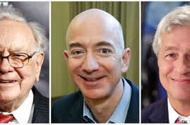 FILE- This combination of file photos from left shows Warren Buffett on Sept. 19, 2017, in New York, Jeff Bezos, CEO of Amazon.com, on Sept. 24, 2013, in Seattle and JP Morgan Chase Chairman and CEO Jamie Dimon on July 12, 2013, in New York.