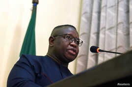 Sierra Leone's President Julius Maada Bio addresses the audience during an event in which he declared national emergency on rape and sexual violence, in Freetown, Sierra Leone, Feb. 7, 2019.