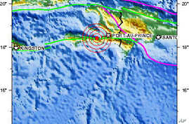A United States Geological Survey map showing the location of Haiti's latest 6.1 magnitude earthquake, 20 Jan 2010
