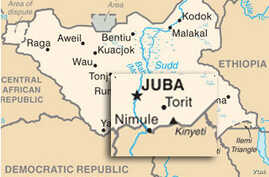 Map showing the town of Nimule, a key trading post on the border of South Sudan and Uganda.