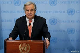 United Nations (UN) Secretary General Antonio Guterres speaks in New York.
