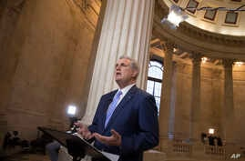 House Majority Leader Kevin McCarthy of Calif. discusses the move by House Republicans to eviscerate the independent Office of Government Ethics, during a network television interview on Capitol Hill in Washington,  Jan. 3, 2017.