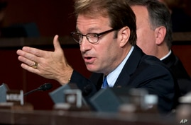 Congressman Peter Roskam, R-Ill., speaks about the Iran nuclear deal, on Capitol Hill in Washington, Sept. 17, 2014.