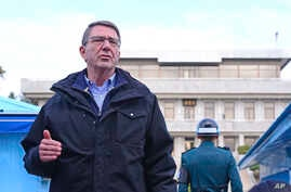 U.S. Defense Secretary Ash Carter speaks to the media at the border village of Panmunjom, which has separated the two Koreas since the Korean War, in Paju, South Korea, Nov. 1, 2015.