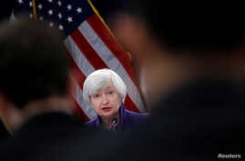 U.S. outgoing Federal Reserve Chair Janet Yellen holds a news conference after a two-day Federal Open Market Committee (FOMC) meeting in Washington, U.S. Dec. 13, 2017.
