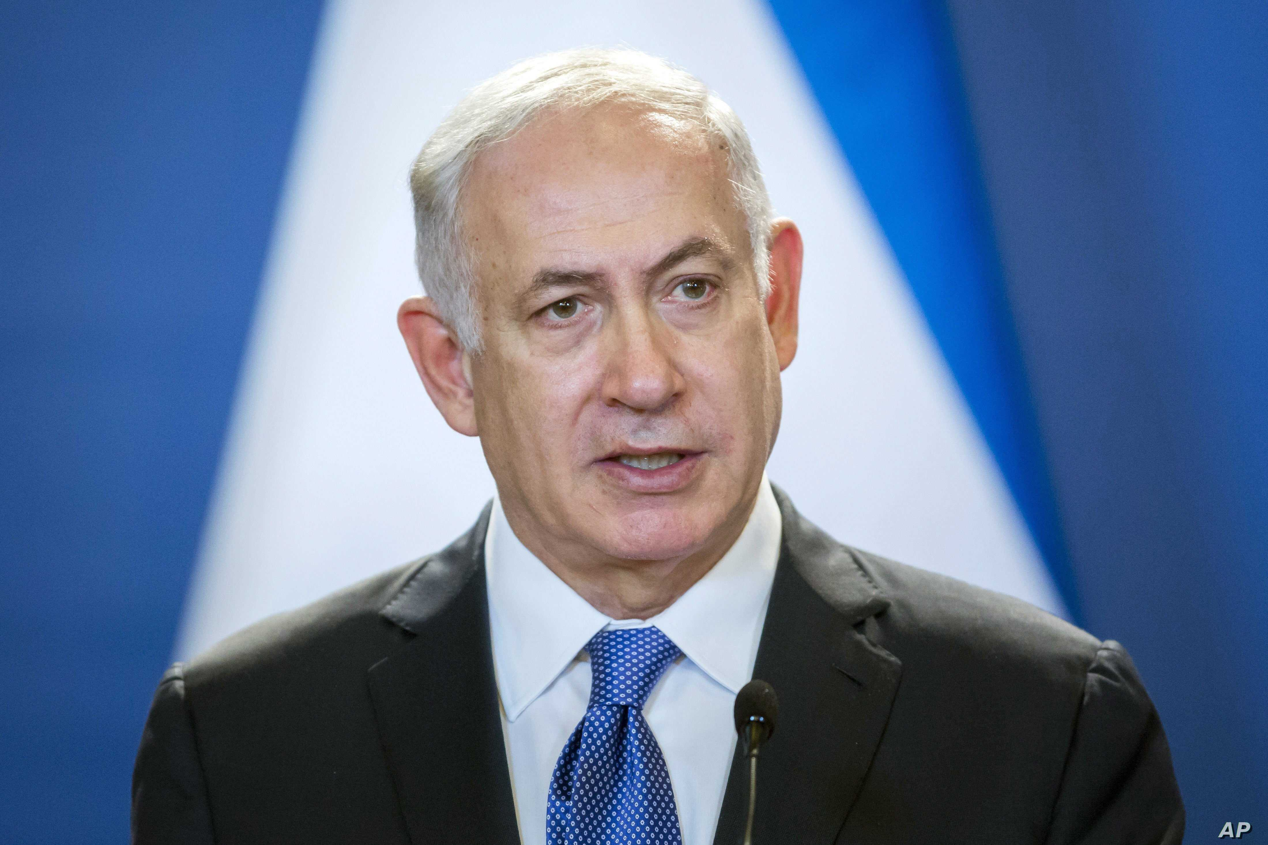 Israeli Prime Minister Benjamin Netanyahu speaks during his joint press conference with his Hungarian counterpart Viktor Orban in the Parliament building in Budapest, Hungary, July 18, 2017.
