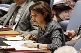 FILE - Rosemary DiCarlo, who then was deputy U.S. ambassador to the United Nations, speaks before the U.N. Security Council at U.N. headquarters, Aug. 5, 2014. On March 28, 2018, U.N. Secretary-General Antonio Guterres named DiCarlo as U.N. undersecr