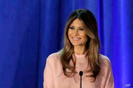 FILE - Melania Trump, wife of Donald Trump, speaks in Berwyn, Pa.